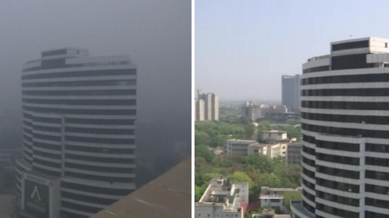 Neu-Delhi ohne Smog: Verblüffende Vorher-Nachher-Aufnahmen nach Corona-Shutdown