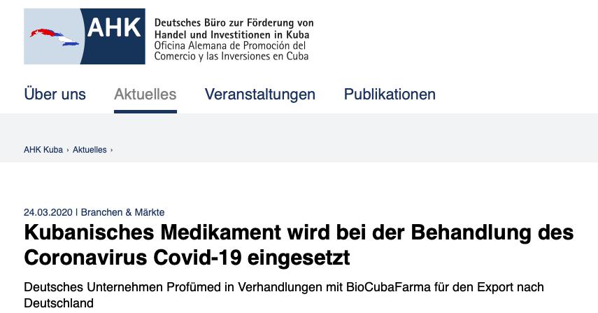 Retten das sozialistische Kuba und eine sächsische Firma Deutschland vor dem Coronavirus?