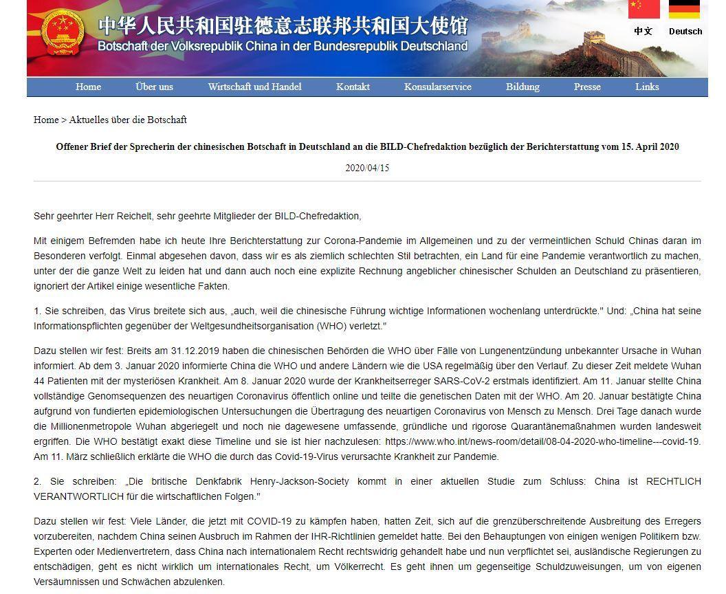 Wegen antichinesischer Hetze: Chinas Botschaft schreibt offenen Brief an BILD-Chefredakteur Reichelt