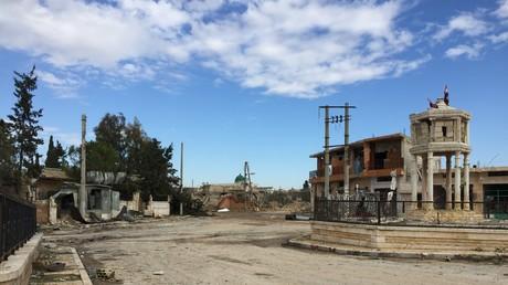 Das von der syrischen Armee kurz zuvor von den Dschihadisten der al-Nusra-Front zurückeroberte Jarjanaz, Provinz Idlib, März 2020