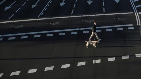 Fast leere Straßen in Madrid am am 28. März 2020.