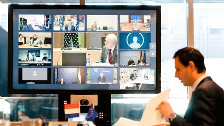 Der niederländische Finanzminister Wopke Hoekstra bei einer Videokonferenz