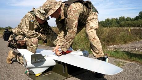 Ukrainische Soldaten bei einer Militärübung, 2018.