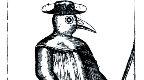 Ein Pestdoktor in einer Darstellung des frühen 18. Jahrhunderts. Die mit Duftstoffen gefüllten Schnabelmasken sollten vor der Ansteckung mit der Pest schützen und wurden später zum Element des venezianischen Karnevals