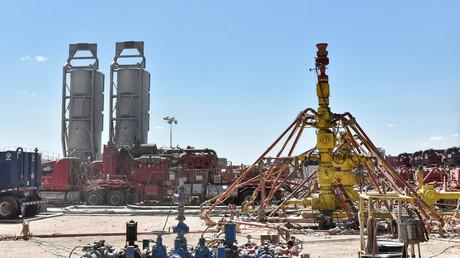 Ein Bohrloch an einem von Oasis Petroleum gepachteten Fracking-Standort im Ölfördergebiet des Permian Basin