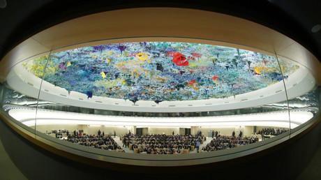 Ein Blick auf die Sitzung des Menschenrechtsrates während der Rede der UN-Hochkommissarin für Menschenrechte, Michelle Bachelet, in Genf, Schweiz, 27. Februar 2020.