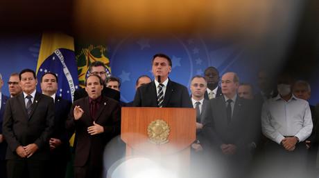 Brasiliens Präsident Jair Bolsonaro bei einer Pressekonferenz in Brasilia am 24. April 2020