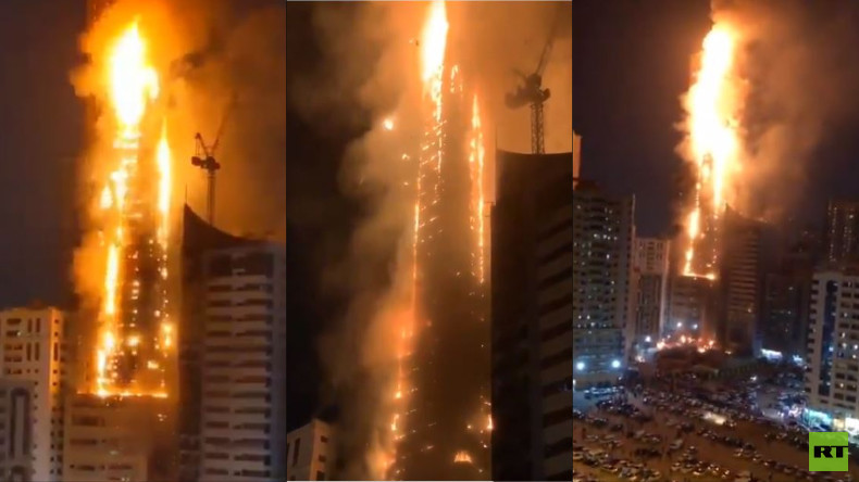 Wolkenkratzer im Emirat Schardscha geht in Flammen auf