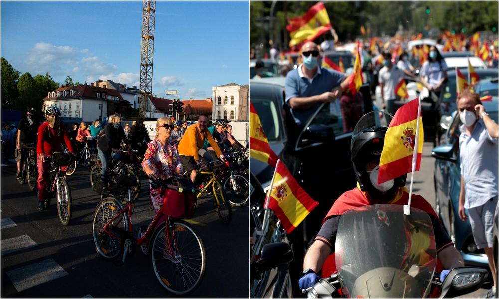 """Corona-Proteste: Fahrradkorso in Ljubljana und """"Karawane für Spanien und seine Freiheit """" in Madrid"""
