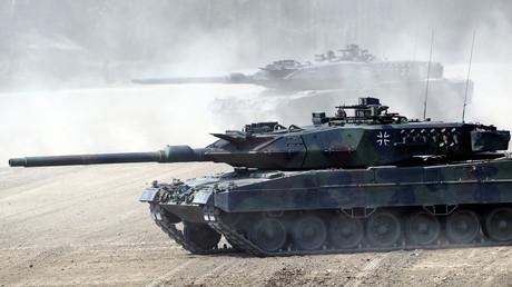 Kampfpanzer der Bundeswehr vom Typ Leopard 2 im Mai 2019