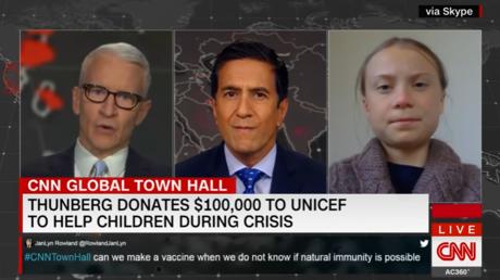 Greta Thunbergs letzter größerer Auftritt erfolgte beim US-Nachrichtender CNN zum Thema