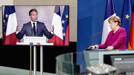 Bundeskanzlerin Angela Merkel erklärt in einer Pressekonferenz mit dem zugeschalteten französischen Präsidenten Emmanuel Macron ihre Pläne für einen EU-Wiederaufbaufonds (Bild vom 18. Mai).