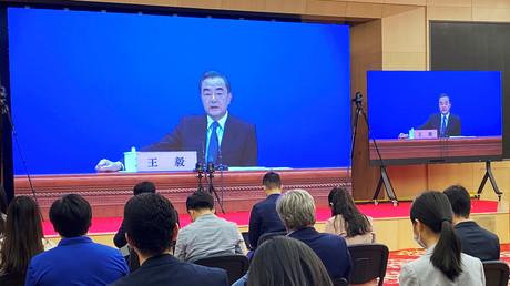Der chinesische Staatsrat und Außenminister Wang Yi während einer Pressekonferenz am 24. Mai 2020 in Peking, China.