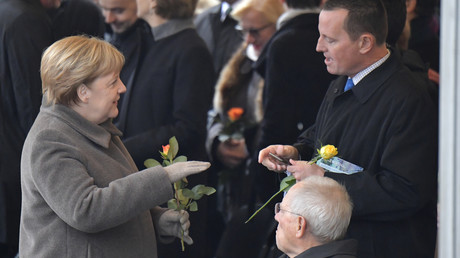 Grenell mit Bundeskanzlerin Angela Merkel und Bundestagspräsident Wolfgang Schäuble bei der Gedenkveranstaltung zum 30. Jahrestag des Falls der Berliner Mauer im November 2019