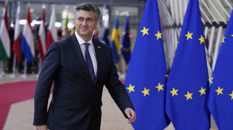 Kroatiens Ministerpräsident Andrej Plenković auf dem Weg zu einer Sitzung des EU-Rats in Brüssel am 20. Februar.