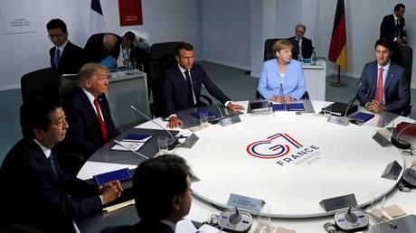 Donald Trump will G7-Gipfel auf September verschieben und Wladimir Putin einladen. Auf dem Archivbild: Staats- und Regierungschefs der G7-Staaten auf einem Arbeitstreffen in Biarritz, am 26. August 2019.