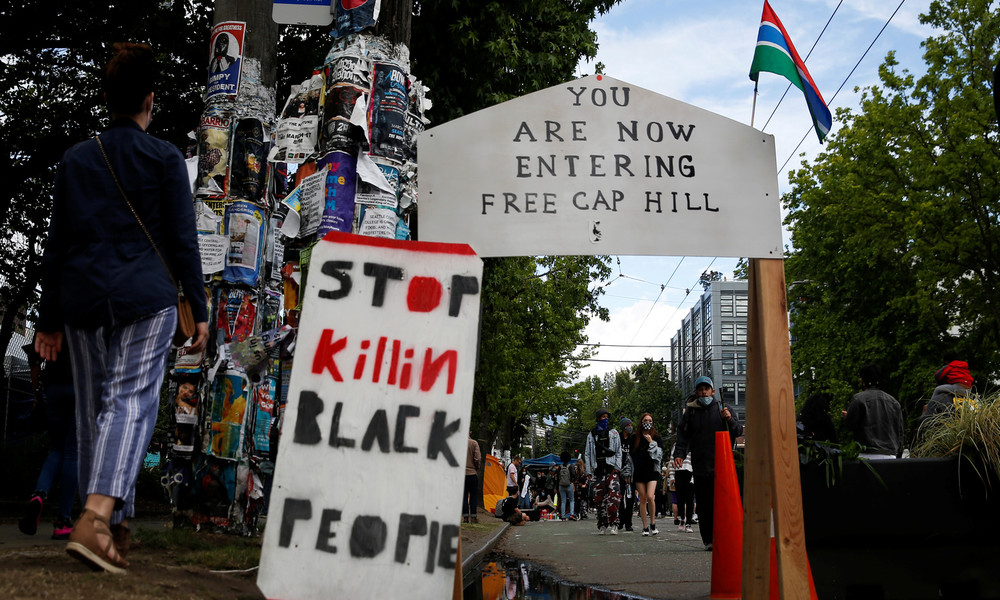 "Proteste in den USA: Die autonome Zone ""CHAZ"" in Seattle (Video)"