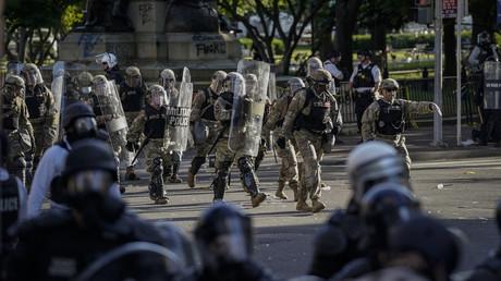 Sicherheitskräfte vor der Ansprache des Präsidenten vor dem Weißen Haus am Montag