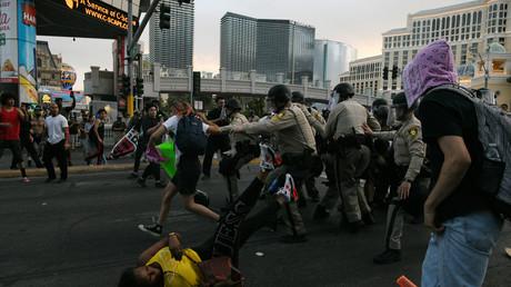 Tumultartige Szenen während einer Demonstration in Las Vegas am 29. Mai 2020.