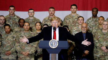 US-Präsident Donald Trump bei einem unangekündigten Truppenbesuch in Afghanistan im November 2019