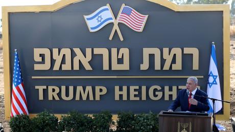 Benjamin Netanjahu während der Zeremonie zur Enthüllung des Namensschildes der nach Donald Trump benannten Siedlung auf den Golanhöhen. (16. Juni 2019)