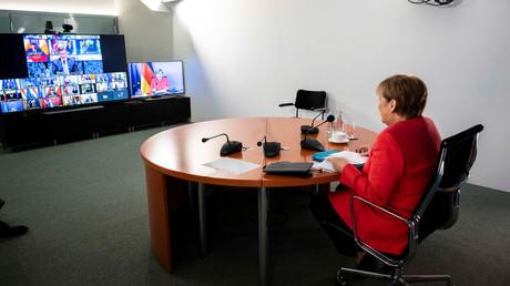 Angela Merkel beim virtuellen Treffen der Staats- und Regierungschefs der EU, bei dem die Sanktionsverlängerung gegen Russland beschlossen wurde