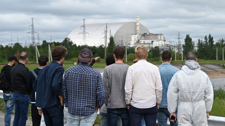 Symbolbild vom 15.08.2019: Touristen sehen sich das stillgelegte Kernkraftwerk Tschernobyl an