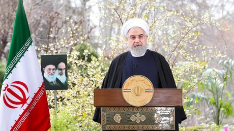 Der iranische Präsident Hassan Rohani hält am 20. März 2020 in Teheran, Iran, anlässlich des iranischen Neujahrsfestes Nowruz eine Fernsehansprache.