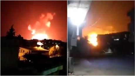 Screenshots von Filmmaterial, das die Folgen eines israelischen Angriff auf syrische Militärstützpunkte in der Provinz Hama zeigen soll.