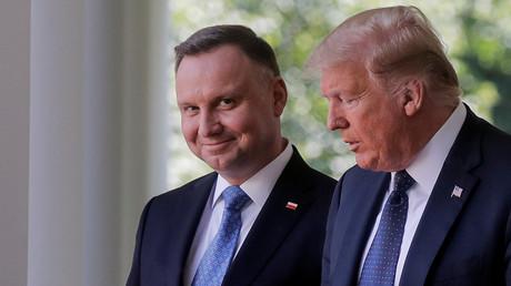 Der polnische Präsident Andrzej Duda am 24. Juni 2020 während der gemeinsamen Pressekonferenz mit US-Präsident Donald Trump im Rosengarten des Weißen Hauses in Washington.