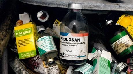 Ein Mülleimer in einem Schweinemastbetrieb in Deutschland – gefüllt mit leeren Antibiotika- und Hormonflaschen