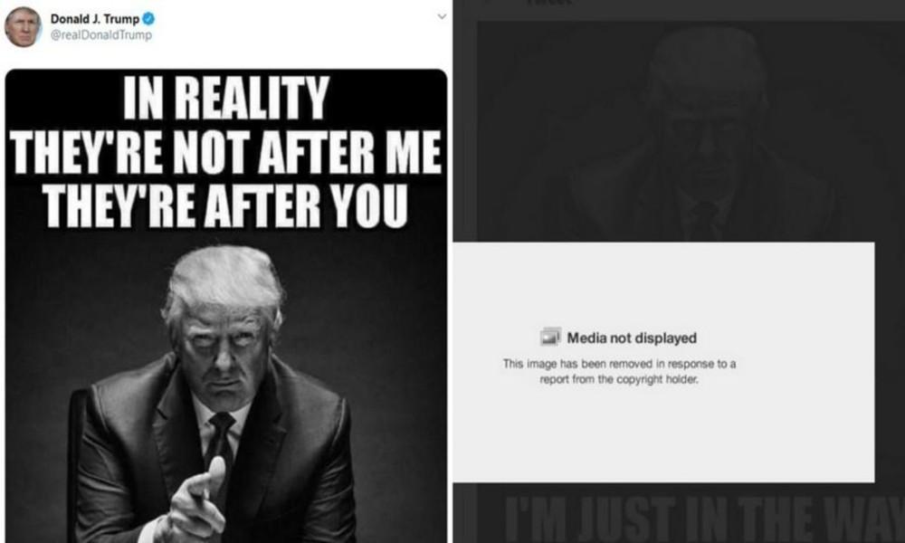 Twitter entfernt Trumps Post mit seinem eigenen Foto wegen angeblicher Verletzung der Urheberrechte
