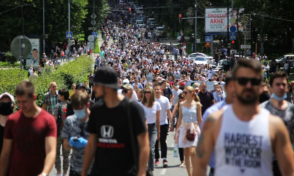 Tausende Menschen protestieren in Chabarowsk gegen Festnahme von Gouverneur Sergei Furgal