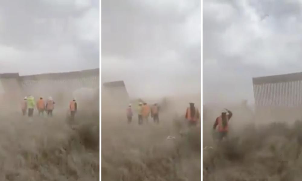 """Virales Video: Hurrikan """"Hanna"""" bringt Teile von Trumps Mauer zu Mexiko zum Einsturz"""
