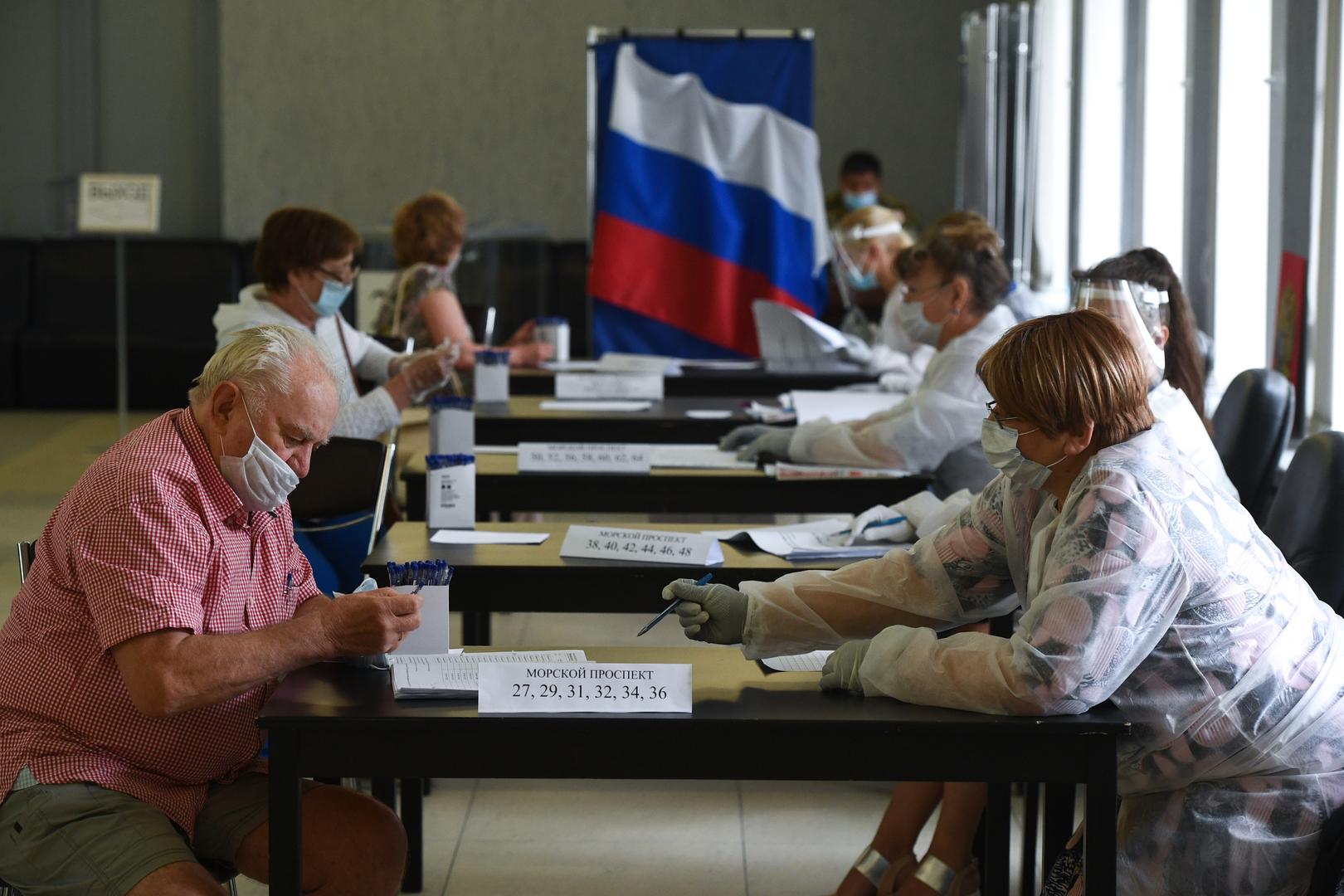 Ein Wahllokal in Nowosibirsk, 1. Juli 2020.
