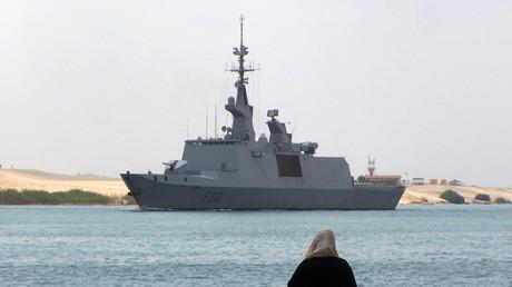 (Archivbild). Die französische Fregatte Courbet am 19. April 2013 in der Nähe der Hafenstadt Ismailia, östlich von Kairo, Ägypten.