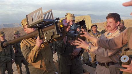 Archivbild: Mitglieder einer sowjetischen Sondereinheit in Afghanistan nach der Vernichtung einer Versorgungskarawane der Mudschaheddin mit erbeuteter Stinger-Luftabwehrrakete made in USA, 05.05.1988