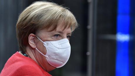 Bundeskanzlerin Angela Merkel auf dem EU-Sondergipfel zum Wiederaufbaupaket in der Corona-Krise (17. Juli 2020)