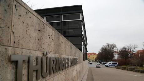 Polizei vor dem Thüringer Landtag (Symbolbild)