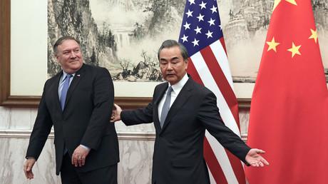US-Außenminister Mike Pompeo und sein chinesischer Amtskollege Wang Yi bei ihrem Treffen im Staatsgästehaus Diaoyutai in Peking.