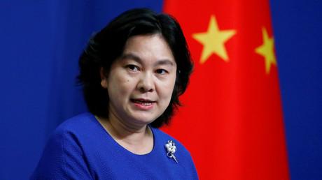 Die Sprecherin des chinesischen Außenministeriums, Hua Chunying, während einer Pressekonferenz in Peking
