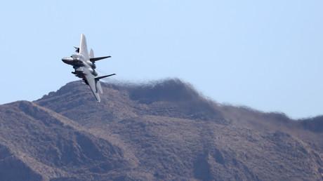 Symbolbild: Ein F-15 Kampfflugzeug der US Air Force überfliegt Las Vegas