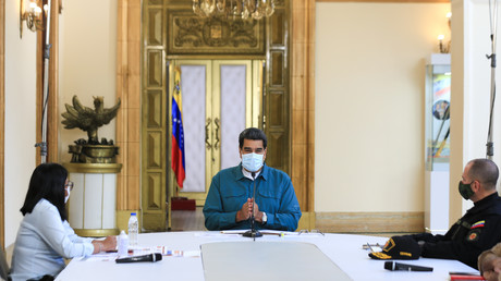 Präsident Nicolas Maduro in einer Fernsehansprache im Präsidentenpalast Miraflores in Caracas am 19. Juli 2020.