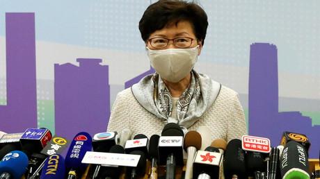 Carrie Lam, Regierungschefin von Hongkong, bei einer Pressekonferenz in Peking im Juni 2020 (Symbolbild)