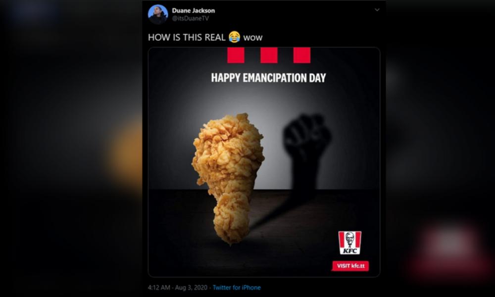 KFC-Werbung zum Emanzipationstag auf Trinidad und Tobago empört BLM-Bewegung