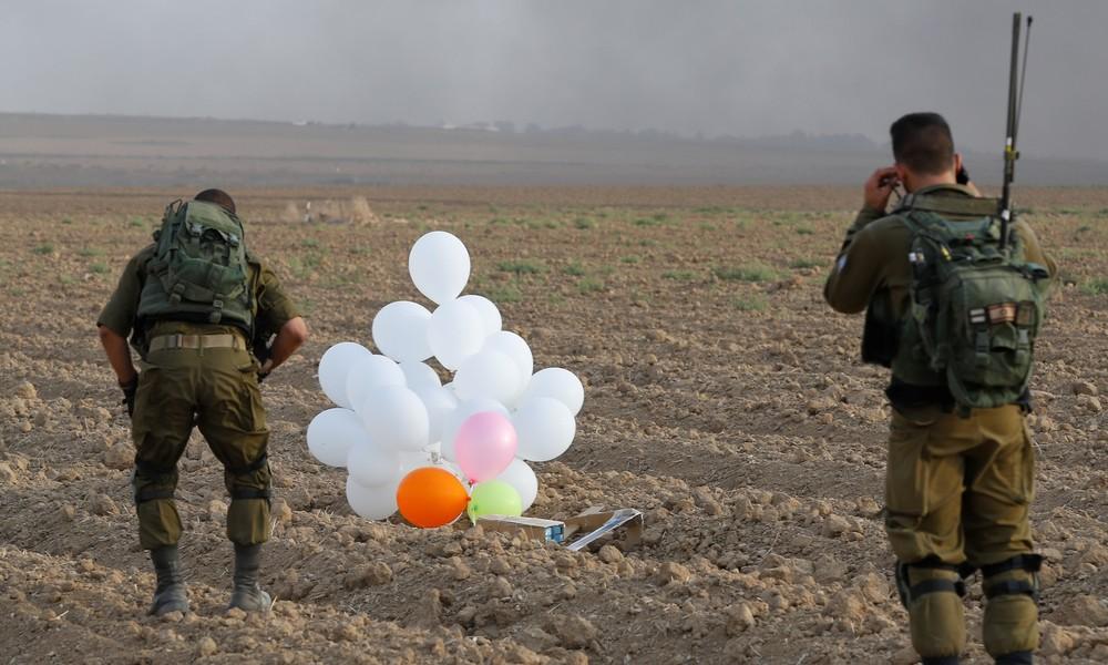 Sprengstoff-Ballons aus dem Gazastreifen: Israel schlägt mit Kampfhubschraubern und Panzern zurück