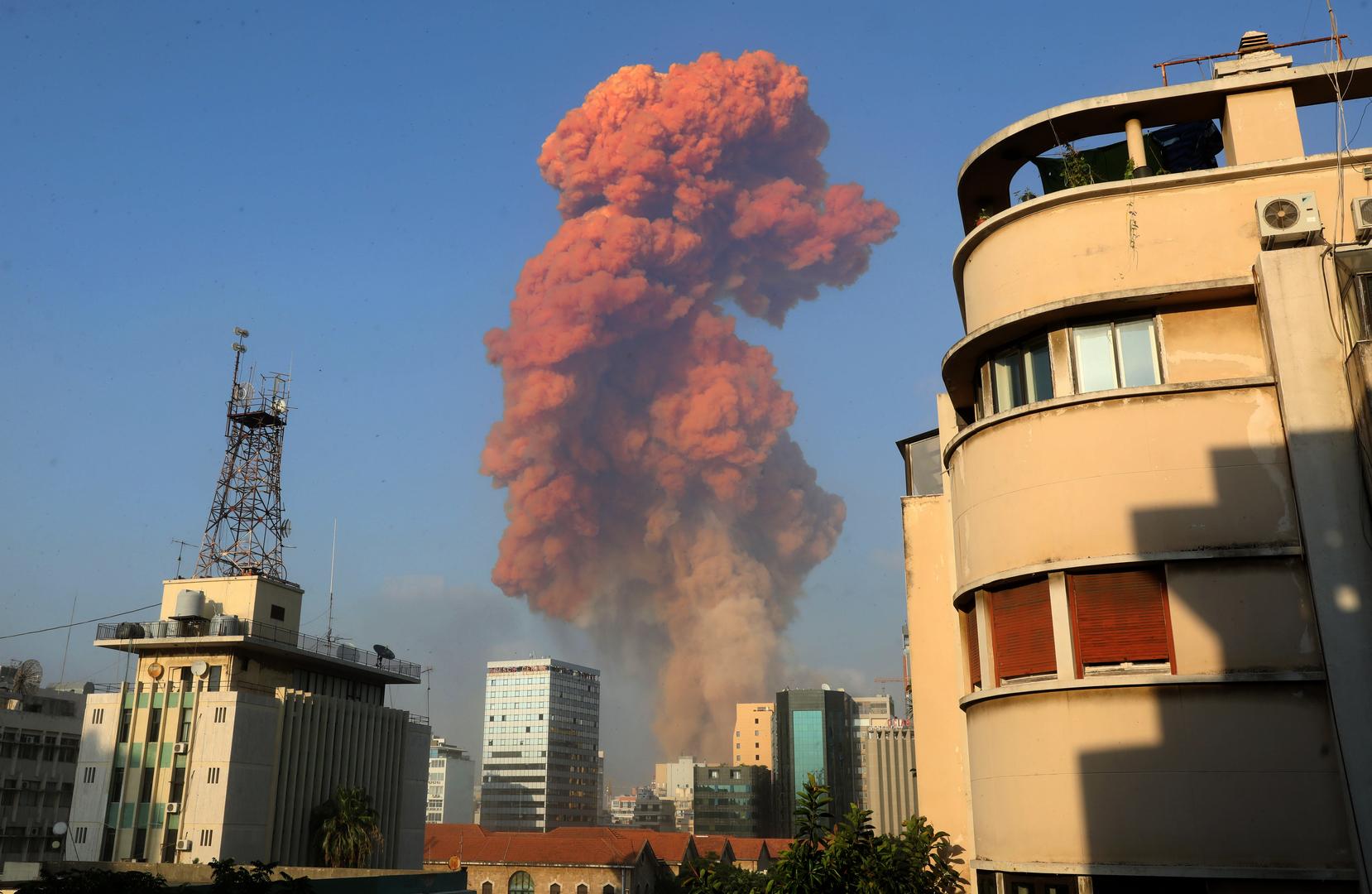 Eine große Explosion erschütterte die libanesische Hauptstadt Beirut. 4. August 2020