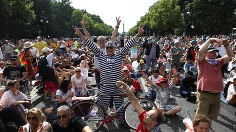 Teilnehmer der sog. Corona-Demo am 1. August in Berlin
