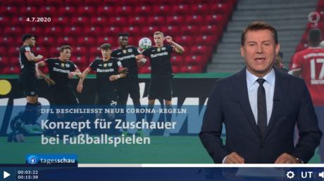 Die Bundesliga geht vor. Erst am Ende der Sendung berichtete die Tagesschau am 4. August, aber auch dann nur sehr kurz, über das fürchterliche Unglück im Libanon.