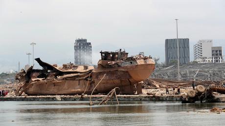 Der Hafen von Beirut nach der Explosion.